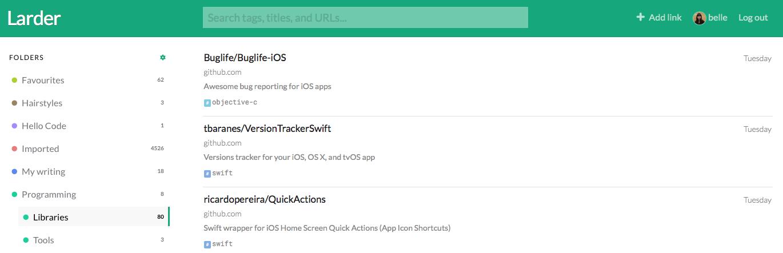 Larder bookmarks GitHub stars import